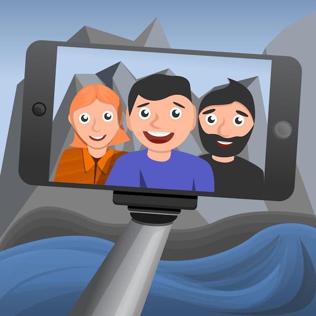 Fondo di concetto di selfie, stile del fumetto Vettore Premium