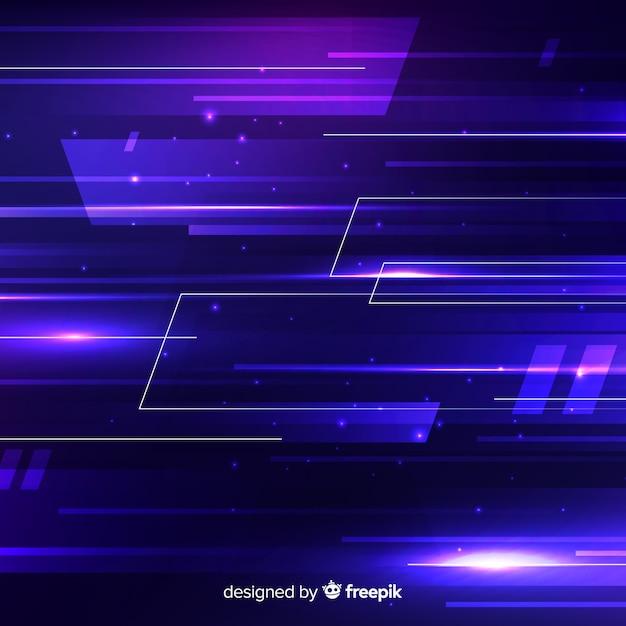 Fondo di concetto di tecnologia con luce al neon Vettore gratuito