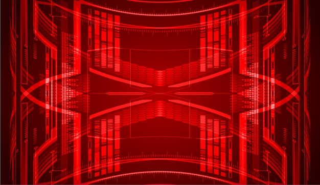 Fondo di concetto di tecnologia del circuito cibernetico rosso futuro Vettore Premium