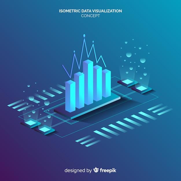Fondo di concetto di visualizzazione di dati isometrici Vettore gratuito