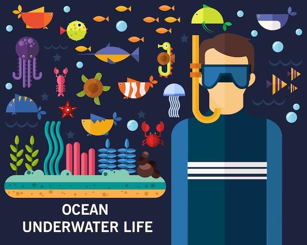 Fondo di concetto di vita sottomarina dell'oceano Vettore Premium