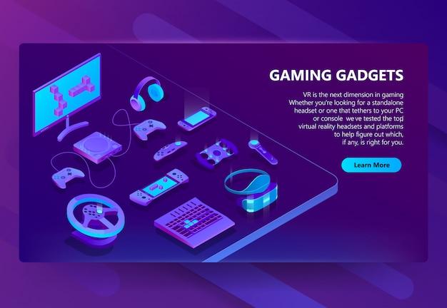 Fondo di concetto isometrico di gadget di gioco Vettore gratuito