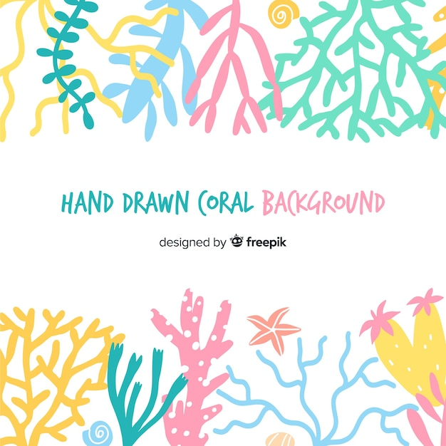Fondo di corallo di colore pastello disegnato a mano Vettore gratuito