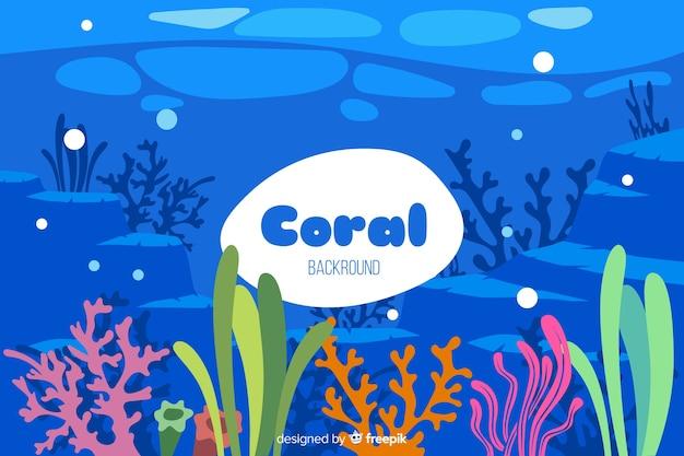 Fondo di corallo subacqueo disegnato a mano variopinto Vettore gratuito