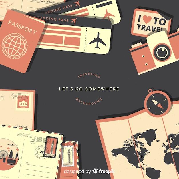 Fondo di documenti di viaggio piatto Vettore gratuito