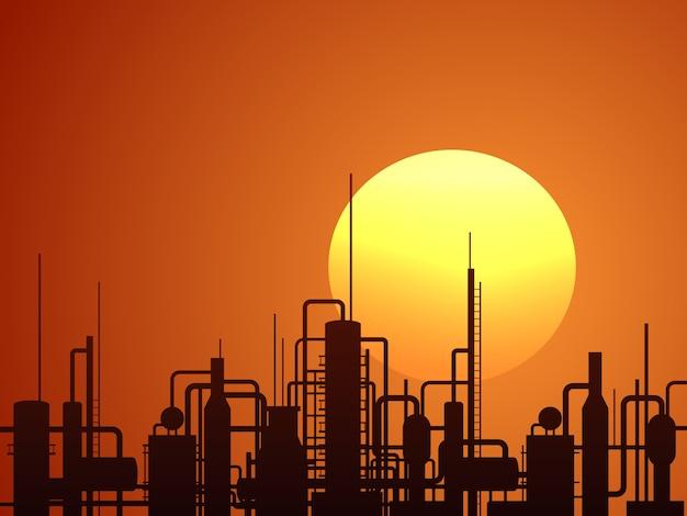 Fondo di ector della costruzione della raffineria di petrolio Vettore Premium