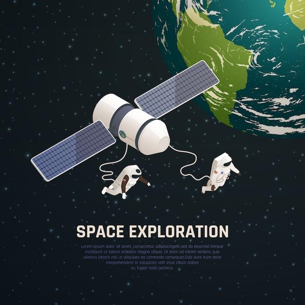 Fondo di esplorazione spaziale con l'illustrazione isometrica di simboli di ricerca dello spazio cosmico Vettore gratuito