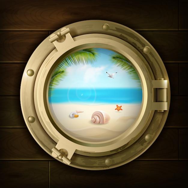 Fondo di estate con le coperture della palma e le stelle marine sulla spiaggia nell'oblò della nave sull'illustrazione di legno di vettore di struttura Vettore gratuito