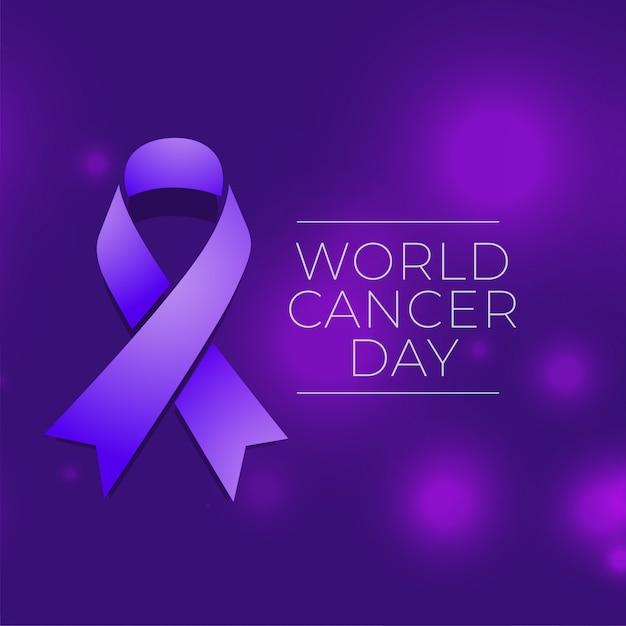 Fondo di evento di giornata mondiale del cancro con il nastro Vettore gratuito