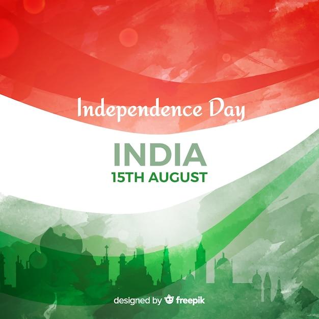 Fondo di festa dell'indipendenza dell'india dell'acquerello Vettore gratuito