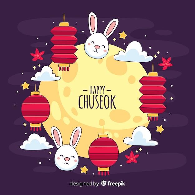 Fondo di festival di chuseok disegnato a mano Vettore gratuito