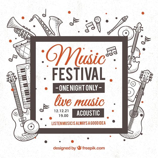 Fondo di festival di musica con strumenti in monolines Vettore gratuito
