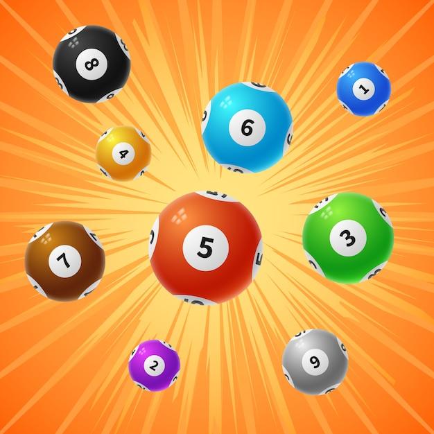 Fondo di gioco di gioco delle palle 3d di lotteria di bingo 3d Vettore Premium