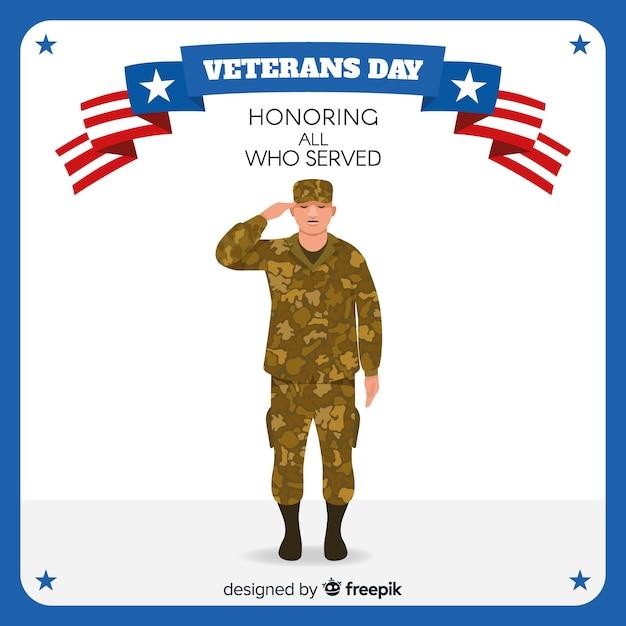 Fondo di giornata dei veterani con noi bandiera Vettore gratuito