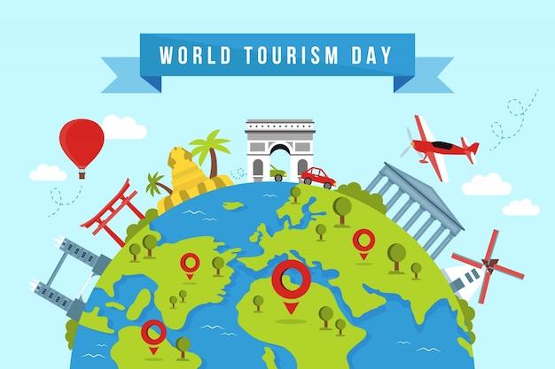 Fondo di giornata mondiale del turismo con punti di riferimento e trasporti Vettore gratuito