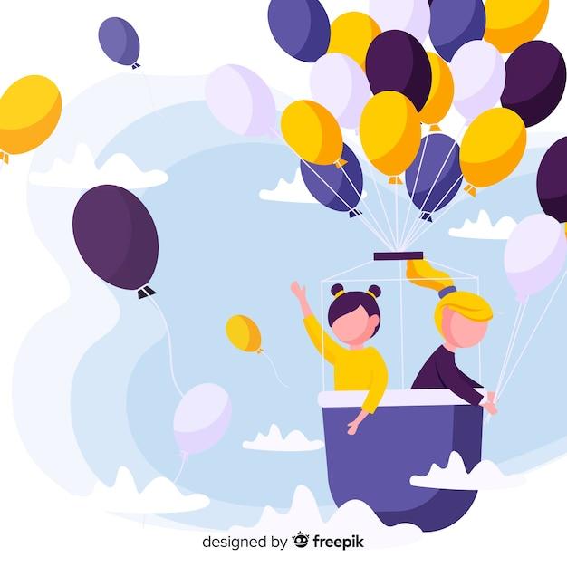 Fondo di giorno dei bambini del pallone volante Vettore gratuito
