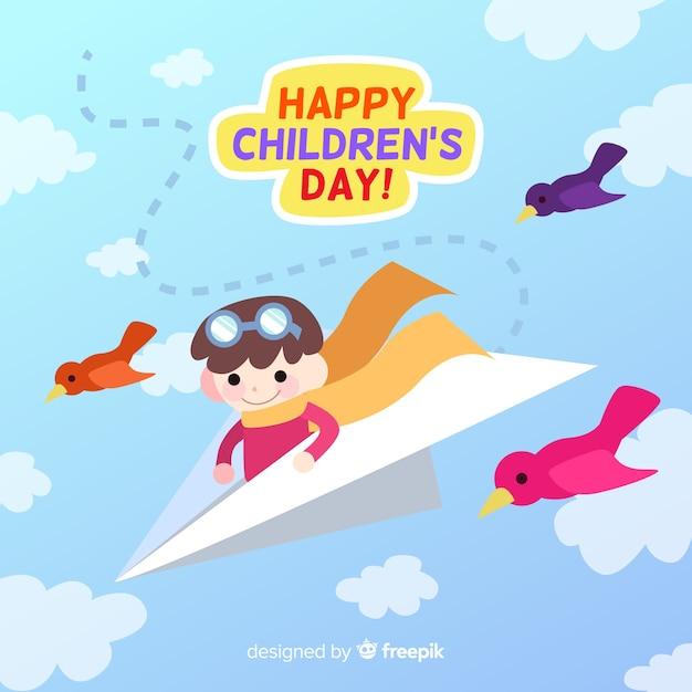 Fondo di giorno dei bambini dell'aereo di carta Vettore gratuito