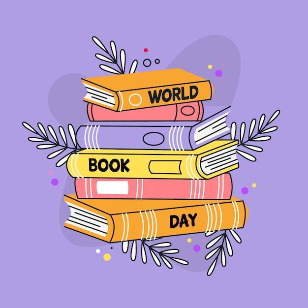 Fondo di giorno del libro del mondo disegnato a mano Vettore gratuito