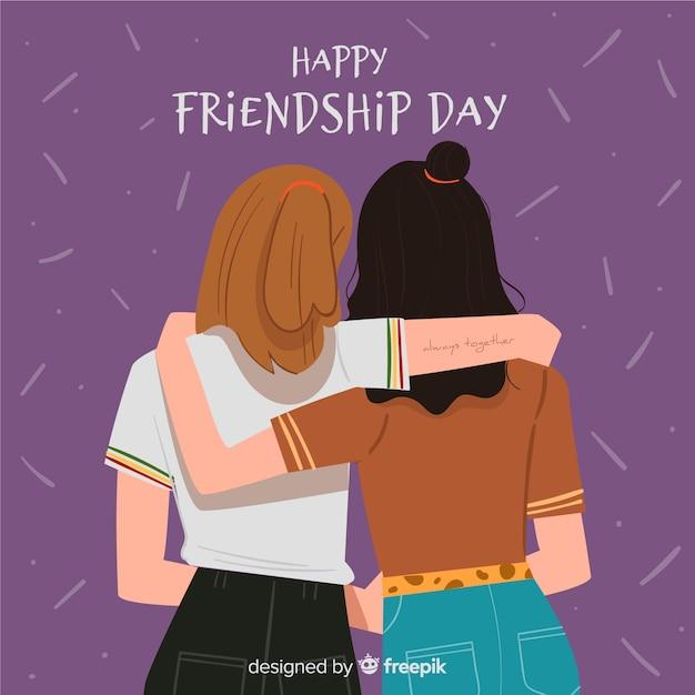 Fondo di giorno di amicizia design piatto Vettore gratuito