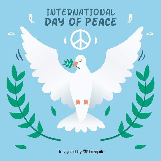 Fondo di giorno di pace con la colomba bianca sveglia Vettore gratuito