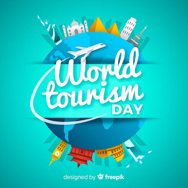 Fondo di giorno di turismo con monumenti intorno a terra Vettore gratuito