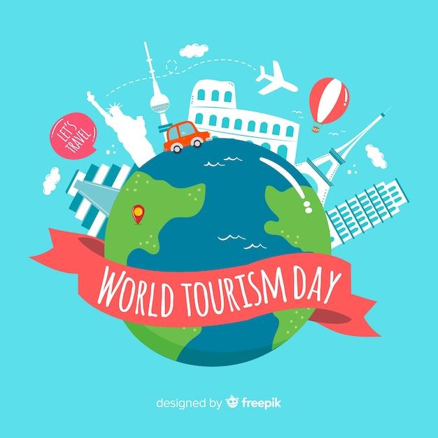 Fondo di giorno di turismo mondiale con mondo e monumenti Vettore gratuito