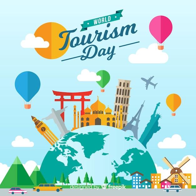 Fondo di giorno di turismo mondiale con monumenti in design piatto Vettore gratuito