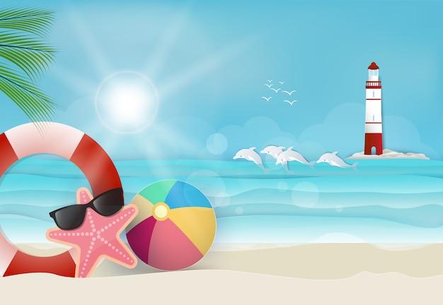 Fondo di giorno soleggiato vacanza estiva Vettore Premium