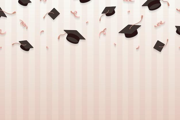Fondo di graduazione con il vettore dei bordi del mortaio Vettore gratuito