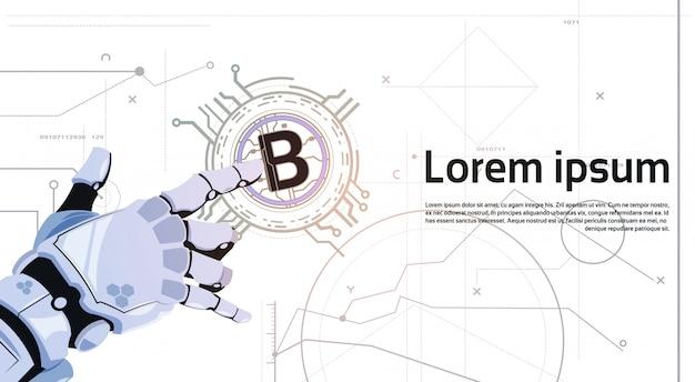 Fondo di modello di tecnologia di estrazione mineraria dei soldi di web di digital di moneta digitale commovente della mano del robot di concetto di valuta di bitcoins bitcoins Vettore Premium