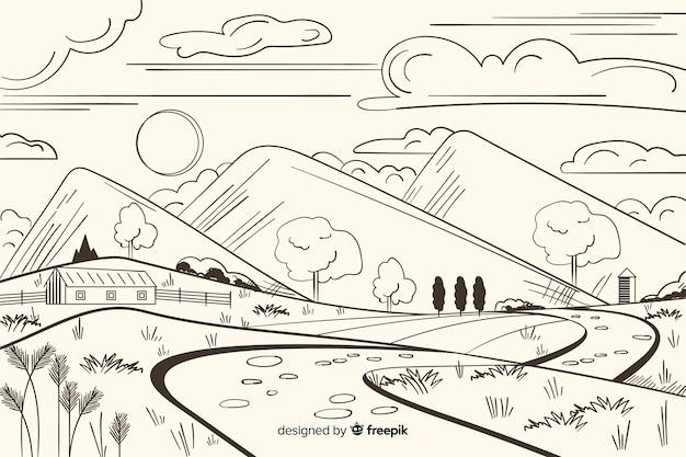 Fondo di paesaggio di fattoria disegnata a mano Vettore gratuito