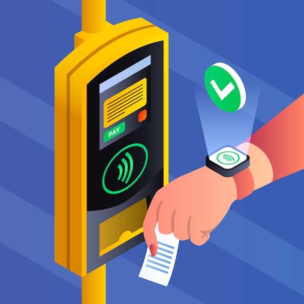 Fondo di pagamento nfc di trasporto pubblico, stile isometrico Vettore Premium