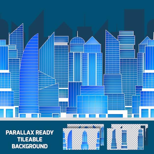 Fondo di parallasse piastrellabile di paesaggio urbano moderno di notte Vettore gratuito