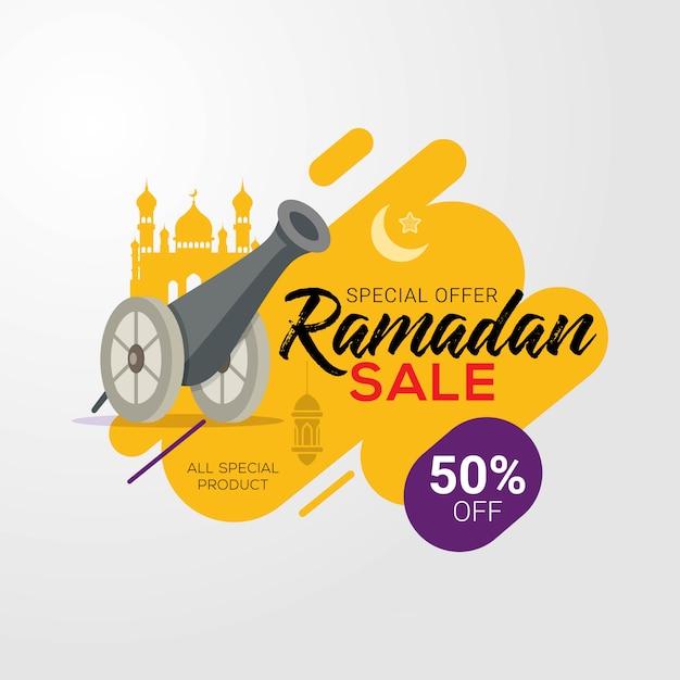 Fondo di progettazione del modello dell'insegna di vendita di ramadan Vettore Premium