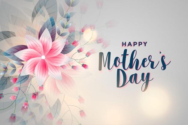 Fondo di saluto del fiore di festa della mamma felice Vettore gratuito