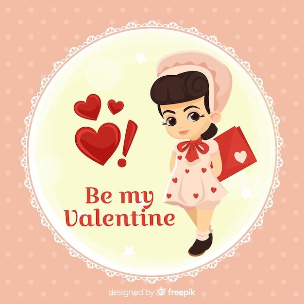 Fondo di san valentino bambola Vettore gratuito