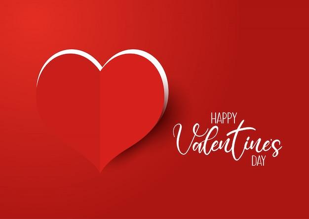 Fondo di san valentino con cuore tagliato Vettore gratuito