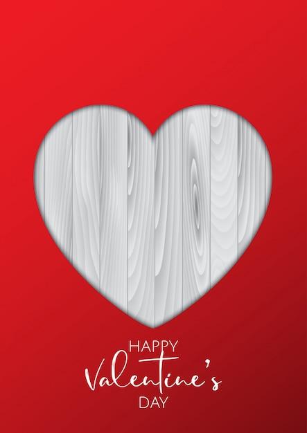 Fondo di san valentino con il cuore del ritaglio su struttura di legno Vettore gratuito
