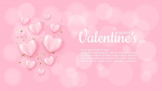 Fondo di san valentino con l'illustrazione del pallone di rosa di amore sul fondo rosa della sfuocatura. Vettore Premium