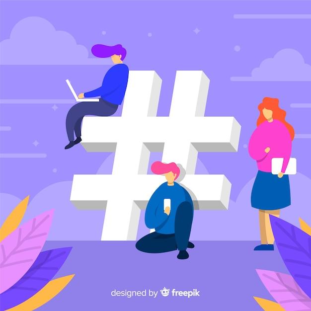 Fondo di simbolo del hashtag dei giovani Vettore gratuito