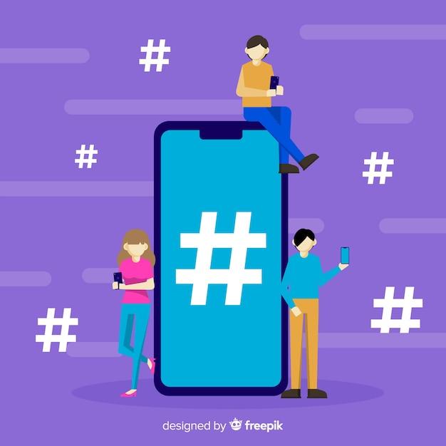 Fondo di simbolo di hashtag di media sociali della gente piana Vettore gratuito