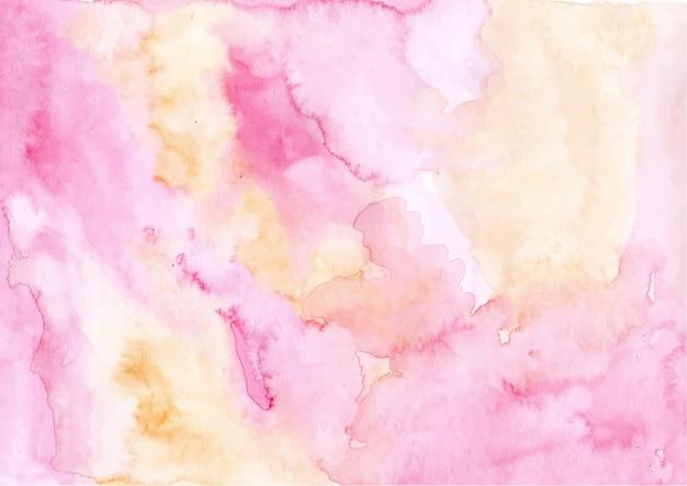 Fondo di struttura dell'acquerello astratto rosa giallo Vettore Premium