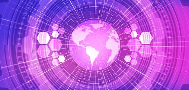Fondo di tecnologia di violet global network future. Vettore Premium