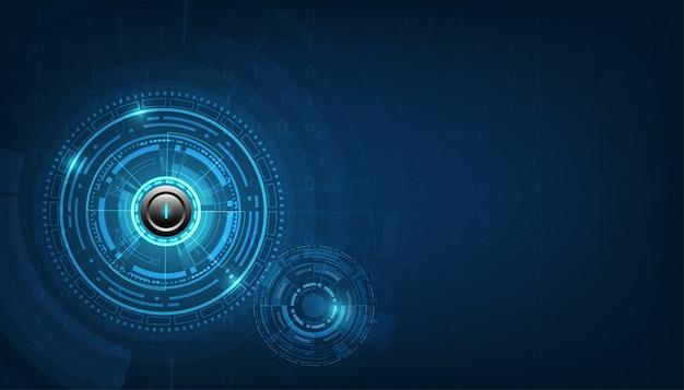 Fondo di tecnologia e del bottone di potere bianco del cerchio di tecnologia di vettore. Vettore Premium