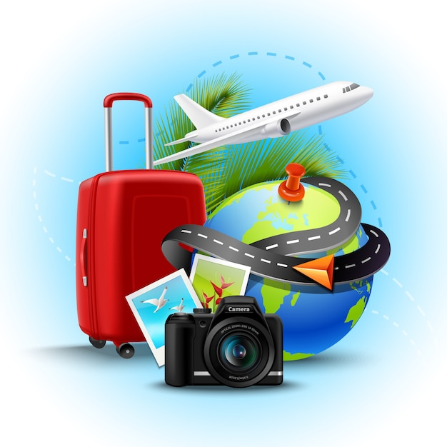 Fondo di vacanze e di feste con la macchina fotografica realistica della valigia e della foto del globo Vettore gratuito