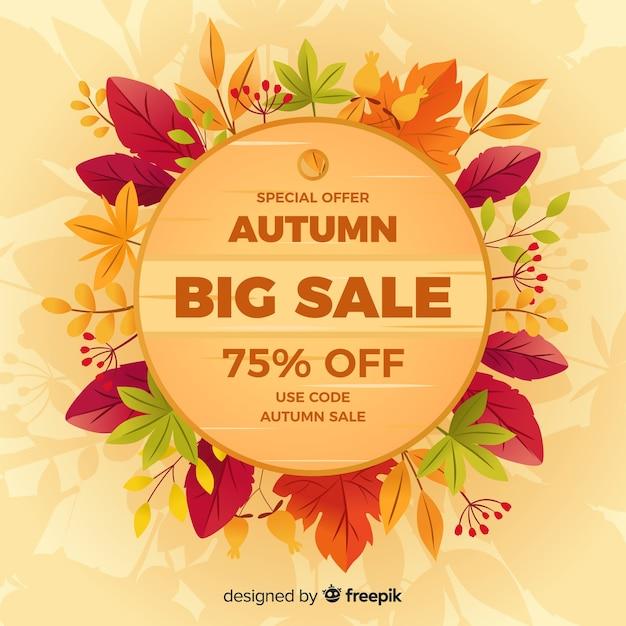 Fondo di vendita autunno design piatto Vettore gratuito