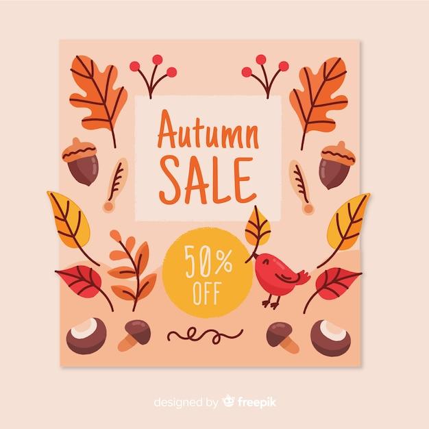 Fondo di vendita autunno disegnato a mano Vettore gratuito