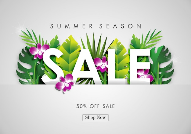 Fondo di vendita di estate con arte di carta di design tropicale Vettore Premium
