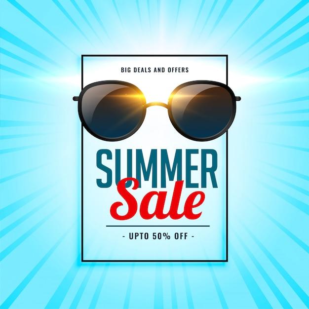 Fondo di vendita di estate con gli occhiali da sole brillanti Vettore gratuito