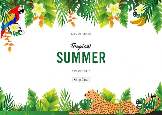 Fondo di vendita di estate con il vettore di progettazione tropicale Vettore Premium